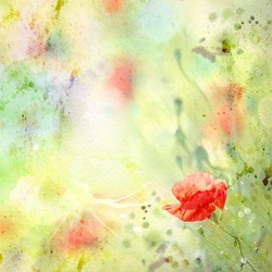 Scenic watercolor background, floral composition