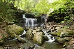 Scenic Waterfall in Ricketts Glen State Park in The Poconos in Pennsylvania