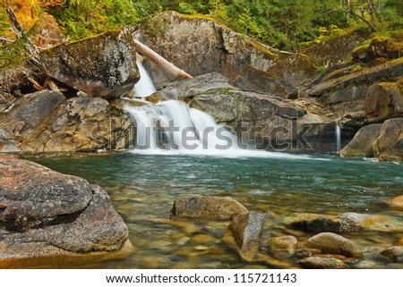 Scenic waterfalls pouring over rocks into a pool with fall colors in the background.