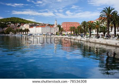 Scenic waterfront in Split, Croatia - stock photo
