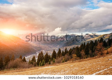 Scenic winter view on top of the Carpathian mountain. #1029318160