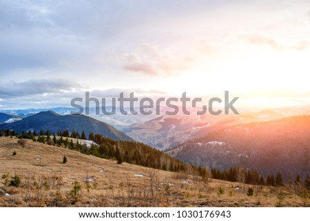 Scenic winter view on top of the Carpathian mountain. #1030176943