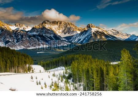 Scenic winter views of the Rocky Mountains, Peter Lougheed Provincial Park, Kananaskis Country Alberta Canada Сток-фото ©