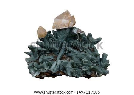 Scepter quartz on prase quartz with hedenbergite inclusions from Serifos island, Greece.  #1497119105