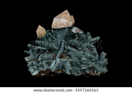 Scepter quartz on prase quartz with hedenbergite inclusions from Serifos island, Greece.  #1497260165