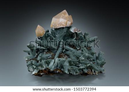 Scepter quartz on prase quartz with hedenbergite inclusions from Serifos island, Greece.  #1503772394
