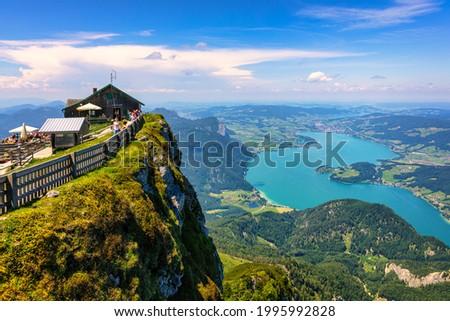 Schafberges aufgenommen, Mountain landscape in Salzkammergut, Upper Austria. View from Schafberg peak to Mondsee, Austria. Himmelspforte Schafberg in Austria, between Mondsee and Wolfgangsee lakes.