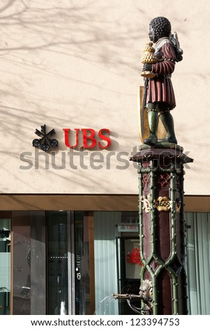 SCHAFFHAUSEN - DEC. 21: A Swiss Bank UBS branch in Schaffhausen city on December 21, 2012 in Schaffhausen, Switzerland. UBS is one of the biggest banks globally.