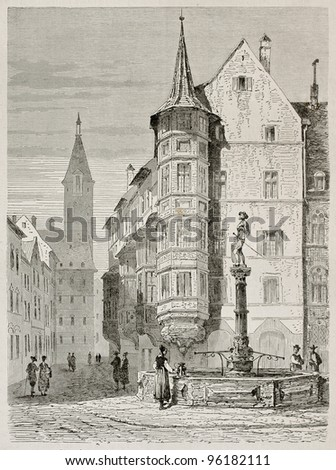 Schaffhausen market place old view, German Switzerland. Created by Stroobant, published on Le Tour Du Monde, Paris, 1867