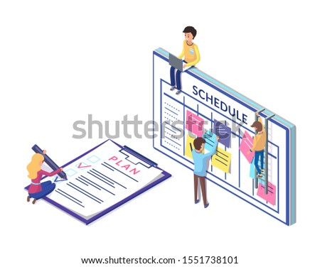 Schedule and planning on clipboard, business strategy worked out by workers. People organizing tasks raster. Writing plans and sticking notes ideas