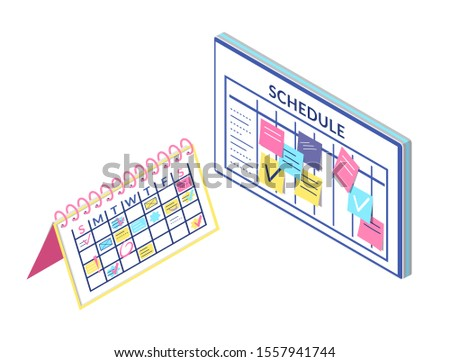 Schedule board and calendar information isolated icons raster. Notes and list of things to do. Business plan organization and structure info and data