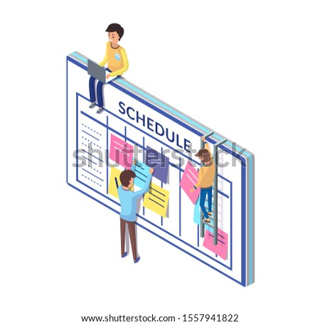 Schedule board and people, working on its updating raster. Organization of workplace, work tasks and list of important things to be done checklist