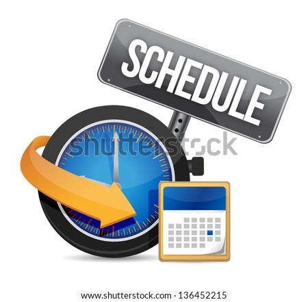 Schedule icon with clock illustration design over a white background