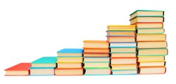 Schedule in the form of multi-coloured books. On a white background.