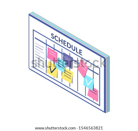 Schedule, timetable of company workers, board with sticky notes raster. Business plan and organization of workplace. Memos and lists to do check marks