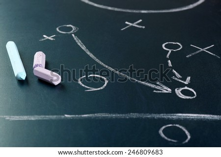 Scheme football game on blackboard background