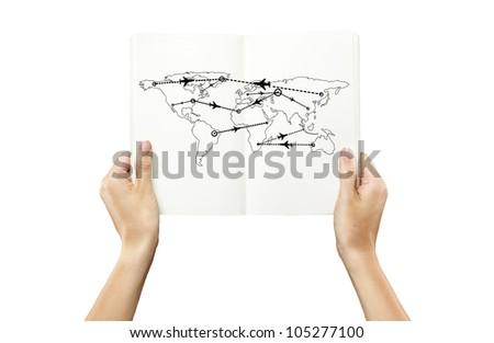 scheme of international flights in hand on a white background