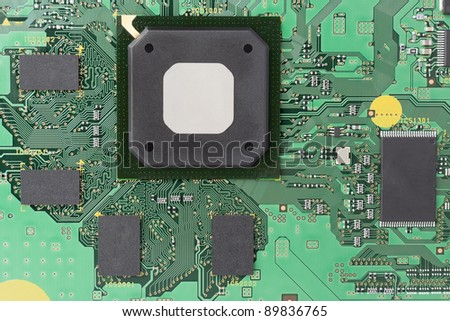 Scheme  of modern high frequency control  electronic memory concept background. Mass production circuit board macro selective focus