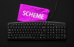 Scheme programming language. Rag width word Scheme and pc keyboard.