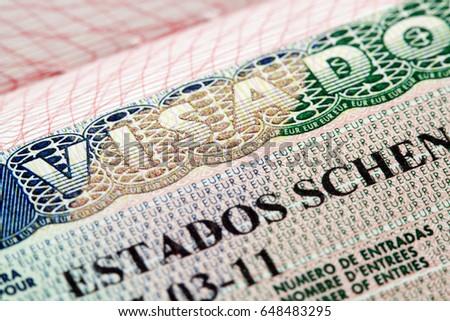 Schengen visa - Estados Schengen Visado (Spain) in passport   Foto stock ©