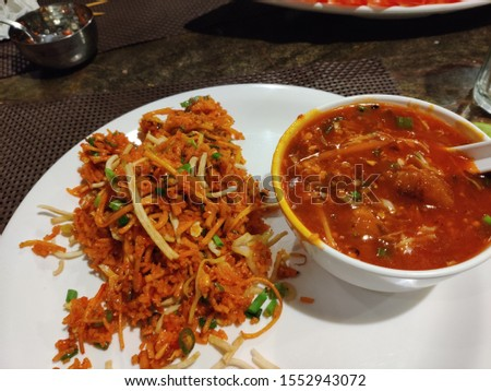 Schezwan fried rice and Manchurian, Chinese food, dinner meals,  lunch meals