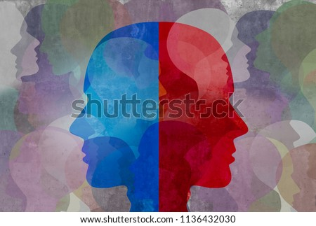 Schizophrenia and split personality disorder and mental health psychiatric disease concept in a 3d illustration style.