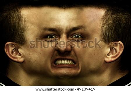 stock photo : Schizophrenia. Panorama face