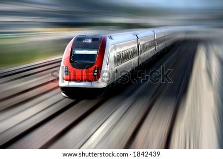 Schnellzug mit Bewegungszittern. - stock photo