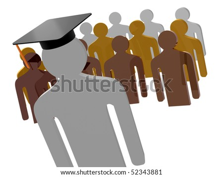 Scholar leader illustration - stock photo