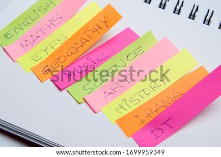 Scholar subjects written on coloured notes  Stock photo ©