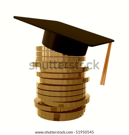 Scholarship fund icon symbol 3d illustration