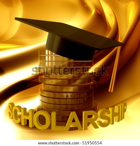 Scholarship fund icon symbol 3d illustration - stock photo
