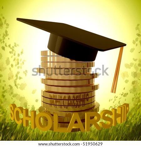 Scholarship fund icon symbol 3d illustration