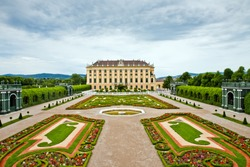 Schonbrunn Palace in Vienna, Austria.  It's former imperial summer residence located in Vienna, Austria. Baroque palace is one of the most important architectural, historical monuments in the country