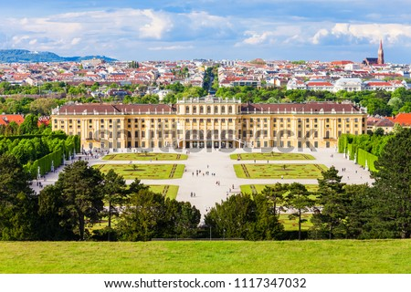 Schonbrunn Palace or Schloss Schoenbrunn is an imperial summer residence in Vienna, Austria. Schonbrunn Palace is a major tourist attraction in Vienna, Austria. #1117347032