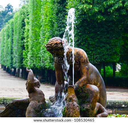 Schonbrunn palace park in Vienna Austria - Fountain detail