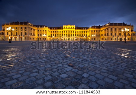 Schonbrunn Palace - Schlo�� Sch�¶nbrunn - frontal entry by night - a landmark of Vienna, Austria