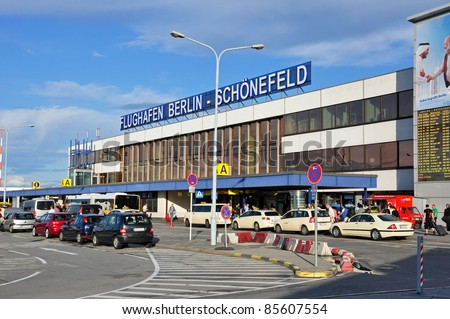 SCHONEFELD, GERMANY - AUGUST 9: Exterior view of Schönfeld airport on August 9, 2011 in Schönefeld, Germany. Schönefeld was the major civil airport of East Germany and the only airport serving East Berlin.