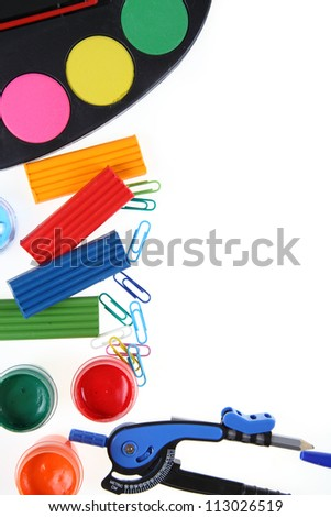 School accessories isolated on a white background