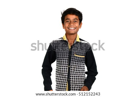 School Age Happy Handsome Boy looking at camera isolated on white background Stockfoto ©