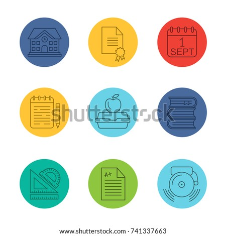 School and education linear icons set. Diploma, September 1st date, notepad, lunch box, books, rulers, school building, test paper. Thin line outline symbols on color circles. Raster illustrations