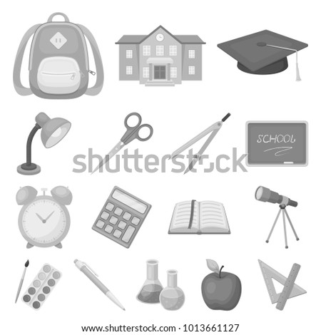 School and education monochrome icons in set collection for design.College, equipment and accessories bitmap symbol stock web illustration.