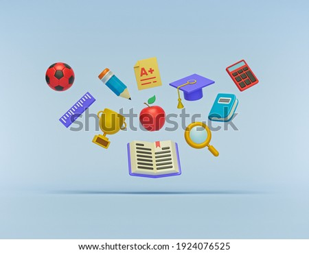 School And Education Related Objects floating on pastel blue background. minimal assorted accessories. 3d rendering Сток-фото ©