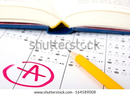 School and Education. Test score sheet with answers