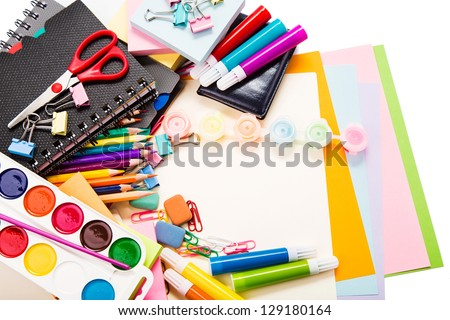 School and office stationary isolated on white. Back to school concept