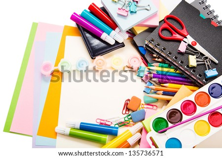 School and office stationary isolated on white. Back to school concept. Copyspace for your text
