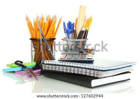 School and office supplies isolated on white stock photo
