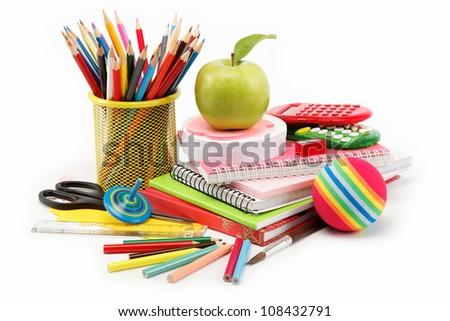 School and office supplies on white background, back to school