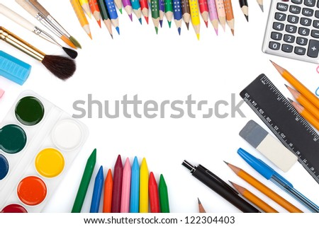 School and office tools. View from above. Isolated on white background