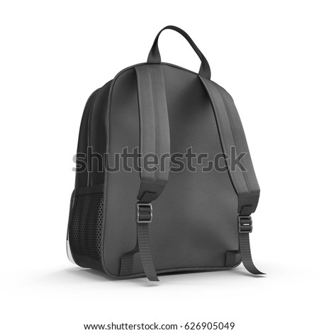 School backpack isolated on white. Rear view. Sport travel rucksack closeup. 3D illustration